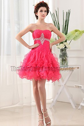 Cute Short Tulle Strapless Party Dress Homecoming Dresses