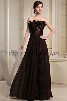 Strapless Chocolate Beaded Prom Dress Evening Gowns