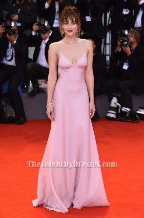 Dakota Johnson Pink Evening Dress 'Black Mass' Venice Film Festival Premiere TCD6186