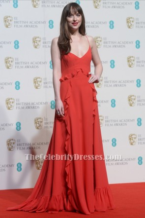 Dakota Johnson Red Evening Dress 2016 BAFTA Awards Red Carpet Gown TCD6553