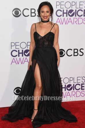 Cheryl Burke Sheer Black Evening Dress People's Choice Awards 2017 TCD7117