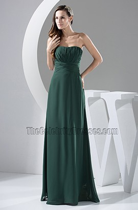 Dark Green Strapless Chiffon Bridesmaid Prom Gown Evening Dress