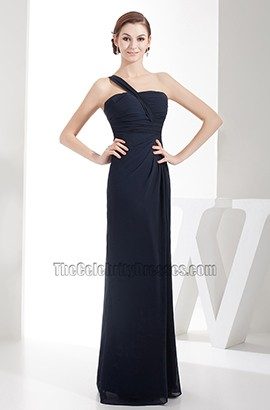 Dark Navy One Shoulder Chiffon Bridesmaid Prom Dresses