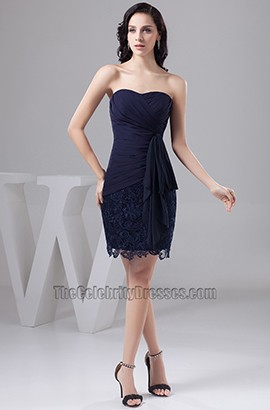 Dark Navy Short Strapless Cocktail Party Homecoming Dresses