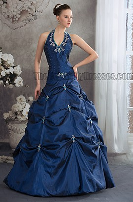 Dark Royal Blue Halter Floor Length A-Line Formal Pageant Dresses