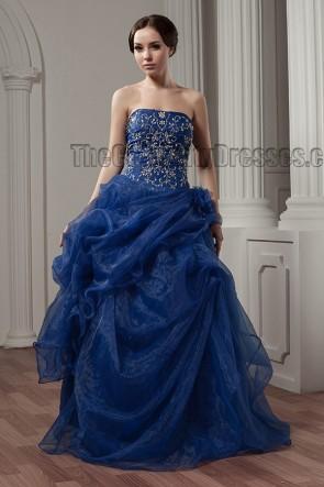 Dark Royal Blue Strapless Embroidered A-Line Formal Evening Dresses