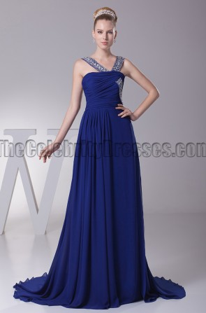 Dark Royal Blue Beaded Prom Gown Evening Dresses