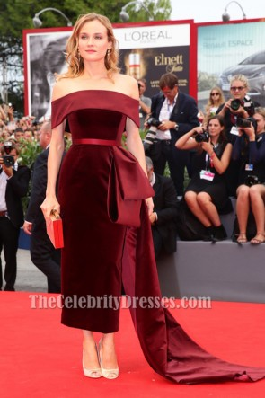 Diane Kruger Burgundy Formal Dress 'Black Mass' Venice Film Festival Premiere TCD6187