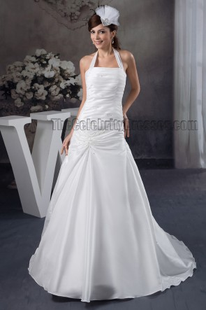 Discount A-Line Halter Beaded Taffeta Wedding Dresses
