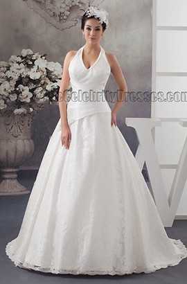 Discount A-Line Halter Sweep/Brush Train Wedding Dresses