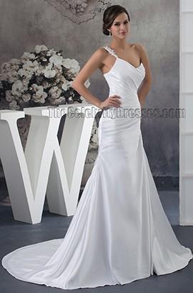 Discount A-Line One Shoulder Chapel Train Wedding Dresses