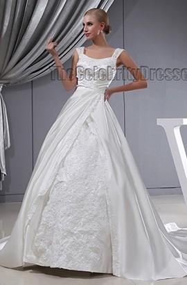 Discount A-Line Satin Chapel Train Wedding Dress