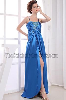Discount Long Blue Beaded Prom Dress Evening Dresses