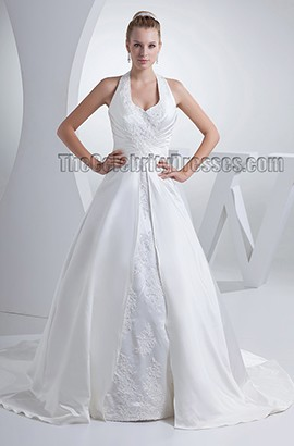 Discount Chapel Train Halter A-Line Embroidered Wedding Dress