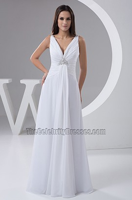 Discount Chiffon A-Line Floor Length Informal Wedding Dresses
