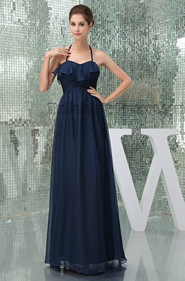 Discount Dark Navy Halter Prom Gown Evening Dresses
