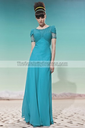 Discount Floor Length Blue Prom Evening Dresses With Beading