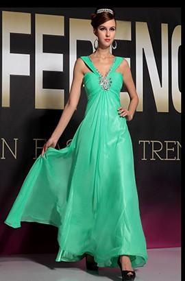 Discount Green Floor Length Beaded Bridesmaid Prom Dresses