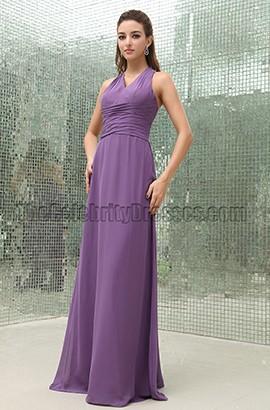 Discount Purple Floor Length Bridesmaid Prom Dresses