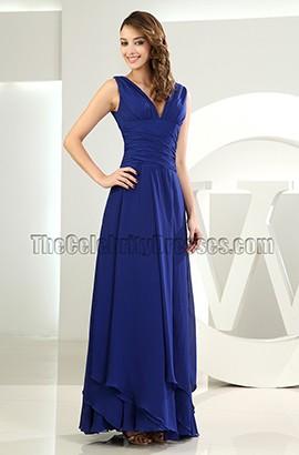 Discount Royal Blue Chiffon V-neck Prom Dress Evening Gown