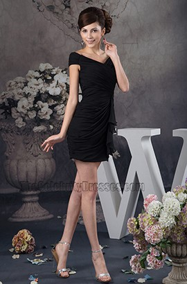 Discount Short Mini Black V-Neck Party Homecoming Dresses
