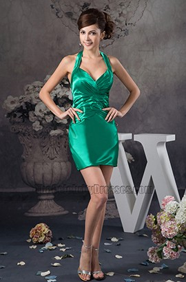 Discount Short Mini Green Halter Party Homecoming Dresses