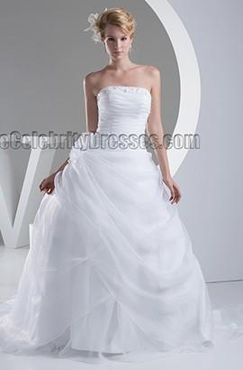 Discount Strapless A-Line Beaded Organza Wedding Dress