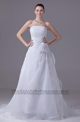 Discount Simple Strapless A-Line Organza Wedding Dress