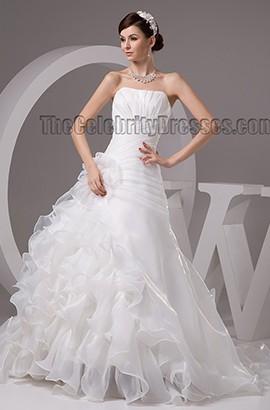 Discount Strapless A-Line Organza Ruffles Wedding Dresses