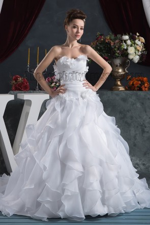 Discount Strapless A-Line Sweetheart Chapel Train Wedding Dresses