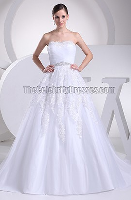 Discount Strapless A-Line Taffeta Wedding Dresses