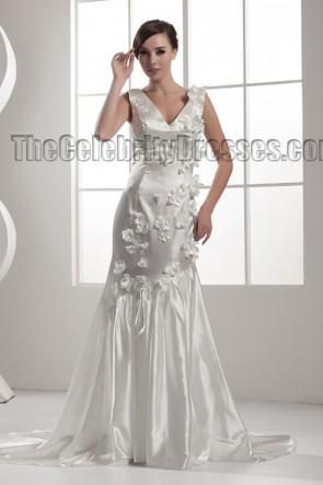 Discount Trumpet/Mermaid V-Neck Chapel Train Wedding Dresses