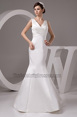 Discount V-Neck Trumpet /Mermaid Floor Length Wedding Dresses