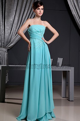 Discount Strapless A-Line Chiffon Prom Dress Evening Formal Dresses