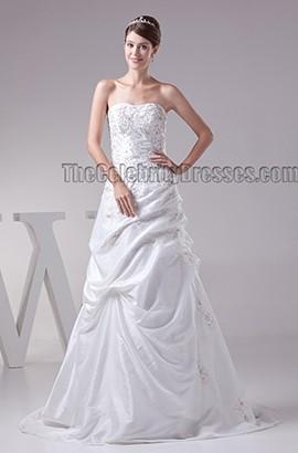 Elegant Strapless Beaded A-Line Lace Up Wedding Dress