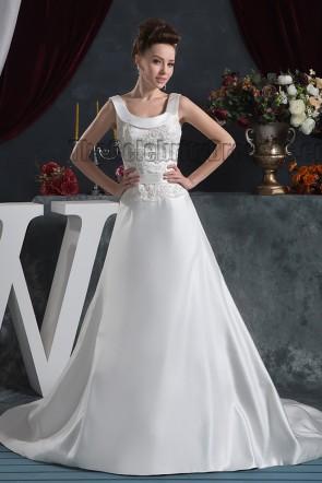 Elegant A-Line Embroidered Sweep Brush Train Wedding Dresses