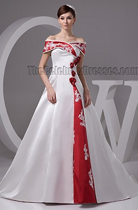 Elegant A-Line Off-the-Shoulder Lace Up Embrodered Wedding Dress