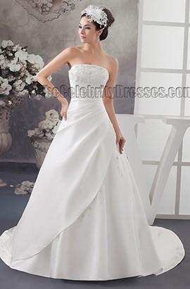 Elegant A-Line Strapless Embroidered Chapel Train Wedding Dress