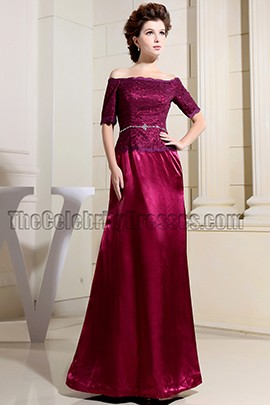 Elegant Burgundy Off-The-Shoulder Formal Dress Evening Gown