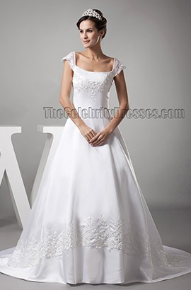 Elegant Cap Sleeve A-Line Embroidered Chapel Train Wedding Dresses