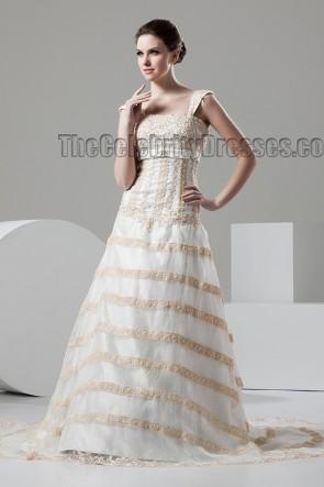 Elegant Cap Sleeves Beaded A-Line Chapel Train Wedding Dresses