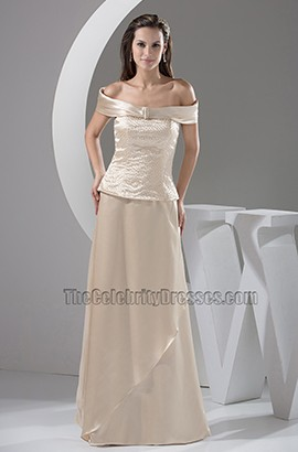 Champagne Off-the-Shoulder Formal Dress Evening Prom Gown With Beadwork