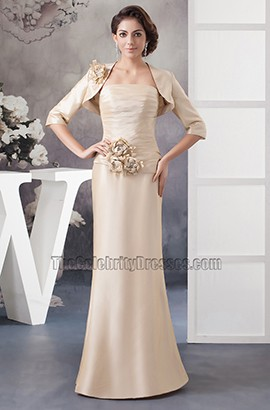 Elegant Champagne Strapless Formal Mother Of Bride Dress With A Wrap
