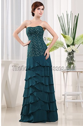 Elegant Dark Green Chiffon Mother of The Bride Dress Prom Gown