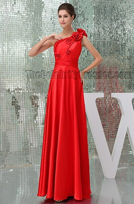 Floor Length Red One Shoulder Prom Gown Evening Dresses