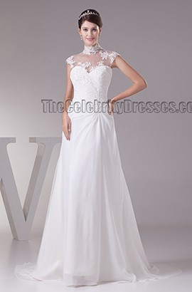Elegant High Neck Sleeveless A-Line Sweep Brush Train Wedding Dress