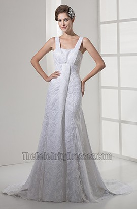 Elegant Lace A-Line Chapel Sweep Brush Train Wedding Dress