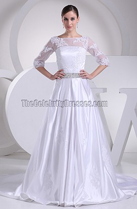 Elegant Lace A-Line Chapel Train Wedding Dresses