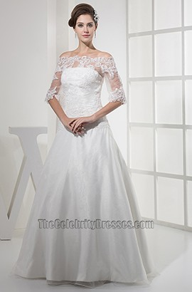 Elegant Lace Off-The-Shoulder A-Line Taffeta Wedding Dress