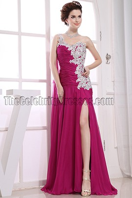 Elegant One Shoulder Embroidery Prom Dress Evening Dresses